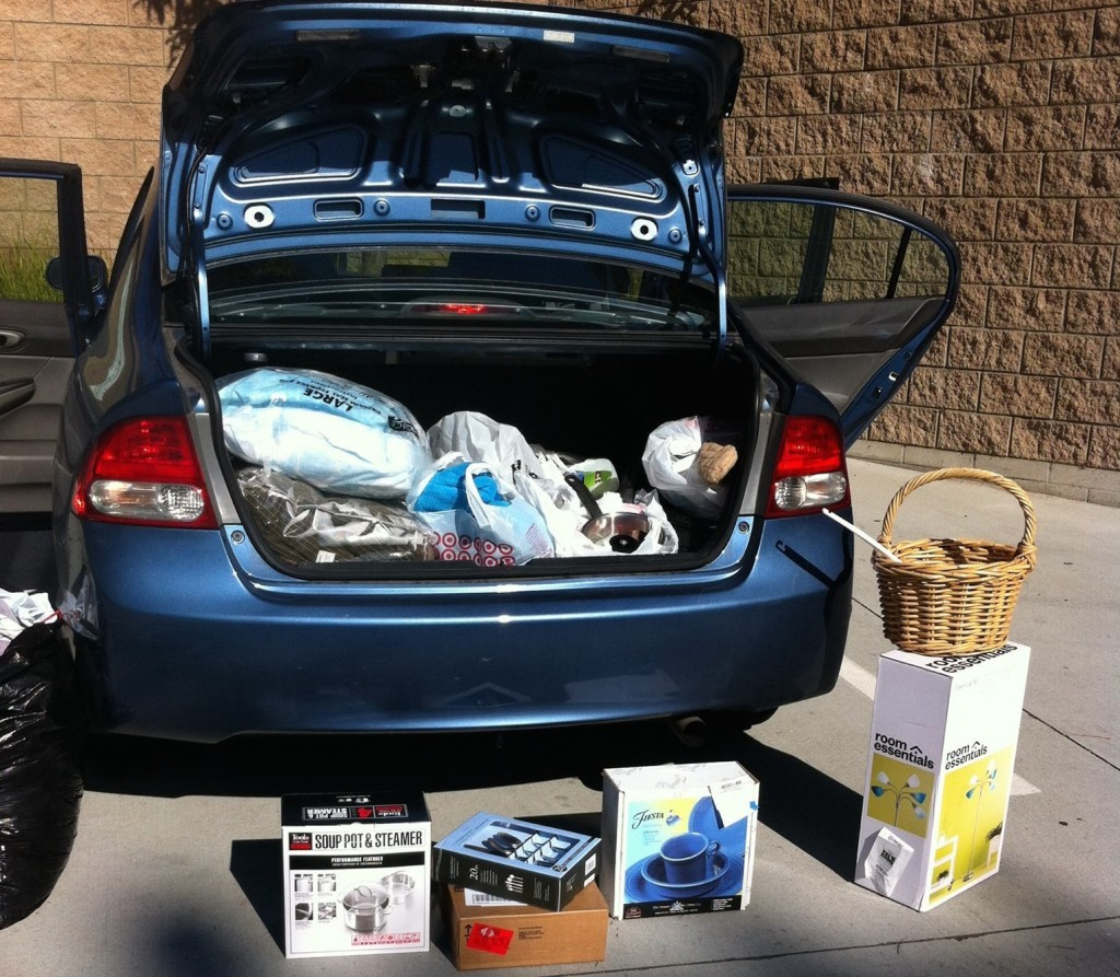 car trunk full of charity donations